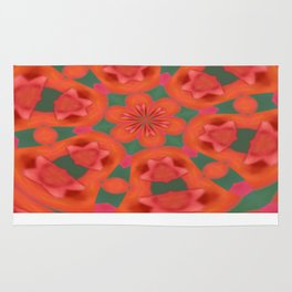 Succulent Red and Yellow Flower Abstract 2 Rug