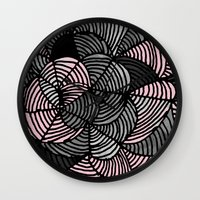 gray pattern Wall Clocks featuring Abstract Pattern - Gray & Pink by Georgiana Paraschiv