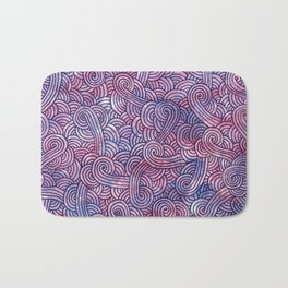 Dark purple swirls doodles Bath Mat