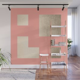 Simply Geometric White Gold Sands on Salmon Pink Wall Mural