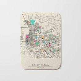 Colorful City Maps: Baton Rouge, Louisiana Bath Mat