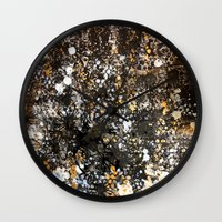 black and gold Wall Clocks featuring Black Gold by Tyler Resty
