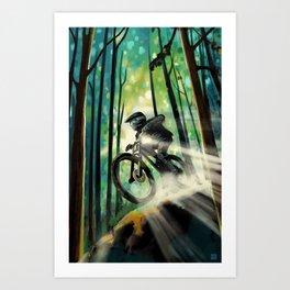 Forest jump mountain biker Art Print