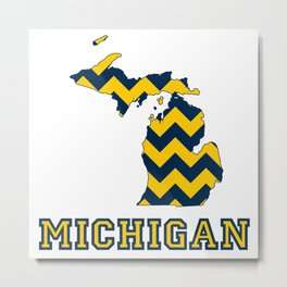 Collegiate Michigan Maize and Blue Chevron Pattern Metal Print