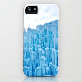 Photograph of a Dramatically Elaborate Frozen Ice Castle on a Sunny and Very Cold Winter's Day iPhone Case