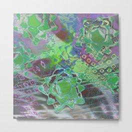Green Lotus Falling Metal Print