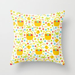 Easter Egg Basket With Little Chicks Pattern Throw Pillow