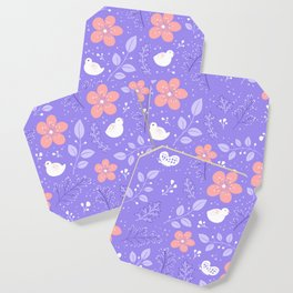 Cute bird and flower pattern Coaster