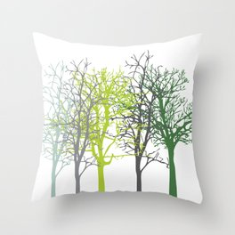 Trees Green and Grey Throw Pillow