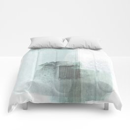 Pale Teal Blue Minimalist Abstract Painting Comforters