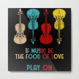 Retro Violin Violinst Design Metal Print