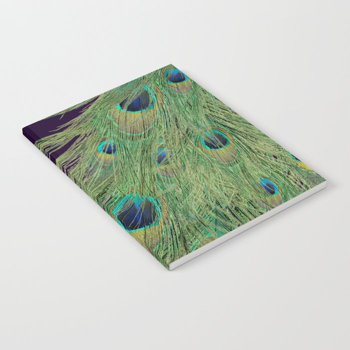 Peacock Feathers on Purple Background Notebook