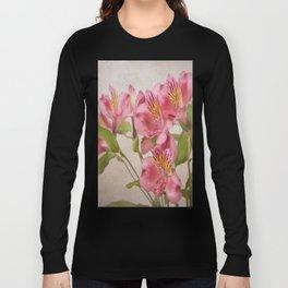 Pink Peruvian Lilies Alstroemeria Long Sleeve T-shirt