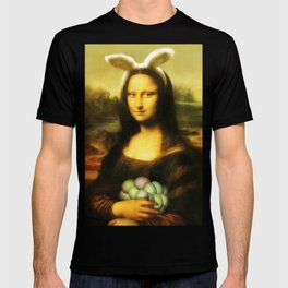 Easter Mona Lisa with Bunny Ears and Colored Eggs T-shirt