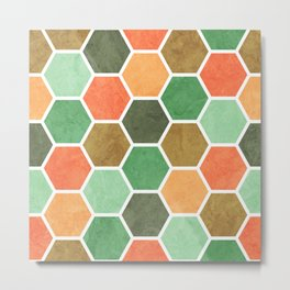 Multicoloured Beehive Geometric Textured Digital Pattern Metal Print