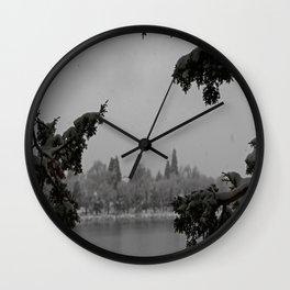 Snowy Virginia Lake Wall Clock