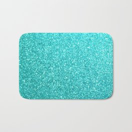 Bright Aqua Blue Glitter Tiffany Bath Mat