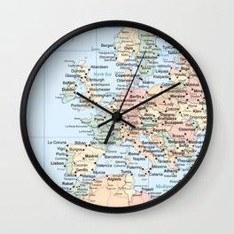 World Map Europe Wall Clock
