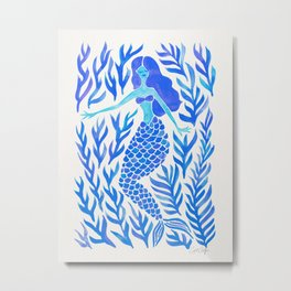 Kelp Forest Mermaid – Blue Palette Metal Print