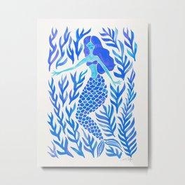 Kelp Forest Mermaid – Blue Palette Metal Print