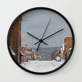 Snow in a Small City Wall Clock