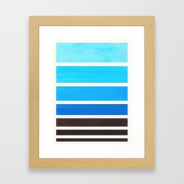 Cerulean Blue Minimalist Mid Century Modern Color Fields Ombre Watercolor Staggered Squares Framed Art Print