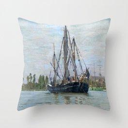 Claude Monet - Chasse-marée à l'ancre Throw Pillow