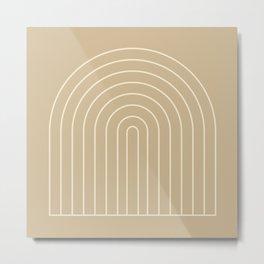 Geometric Lines in Beige Color Metal Print