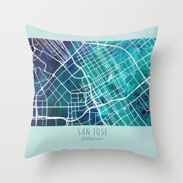 San Jose City Map Throw Pillow