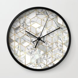 White marble geomeric pattern in gold frame Wall Clock