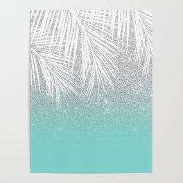 Modern tropical white palm tree silver glitter ombre on robbin egg blue turquoise Poster