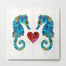 Sea Lovers - Seahorse Beach Art by Sharon Cummings Metal Print