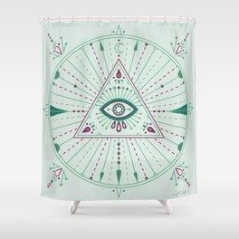 Evil Eye Mandala – Mint Shower Curtain