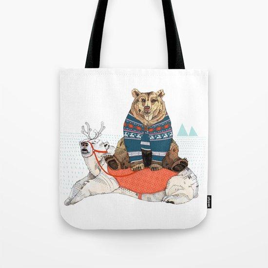Bear Sleigh Tote Bag