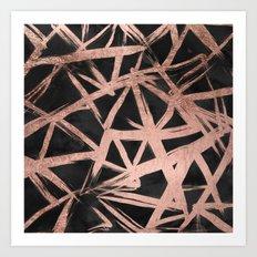 Handdrawn faux rose gold brushstrokes modern stripes triangles pattern Art Print