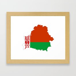 Belarus flag map Framed Art Print