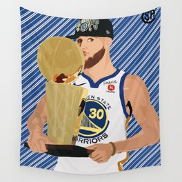Steph Curry 3 time champion Wall Tapestry