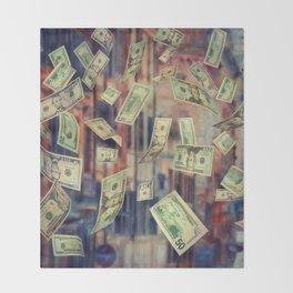 Falling Money Throw Blanket