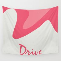 movie poster Wall Tapestries featuring Drive - Movie Poster by ahutchabove
