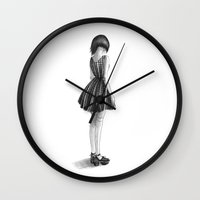 dress Wall Clocks featuring Plaid Dress by nicky costi