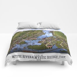 MYSTIC RIVER CONNECTICUT city old map Father Day art print Comforters