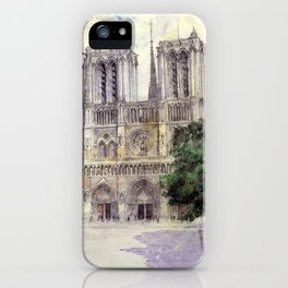 """Cass Gilbert """"Cathedral of Notre Dame, Paris"""" (1933) iPhone Case"""