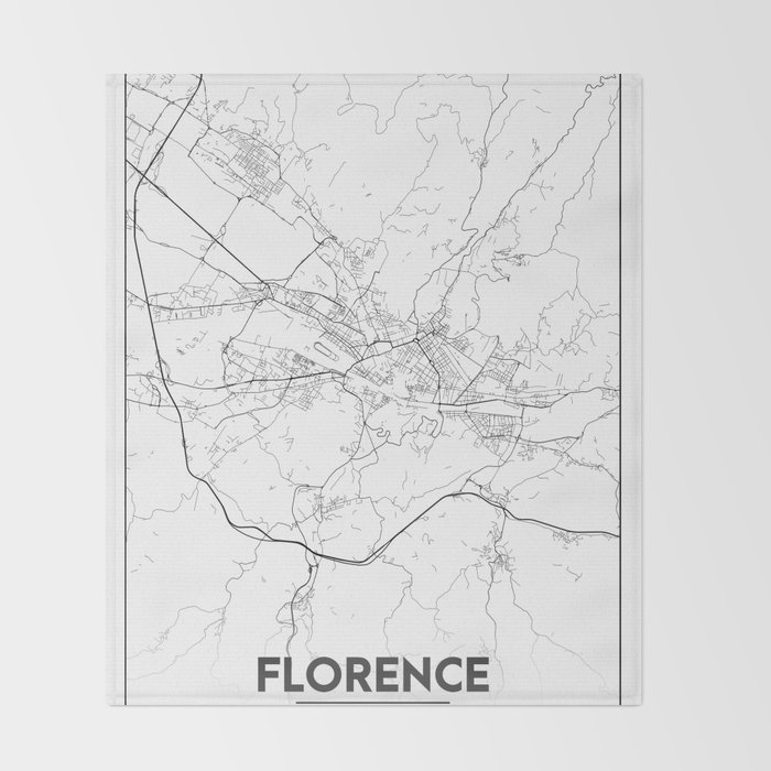 Minimal City Maps Map Of Florence Italy Throw Blanket By