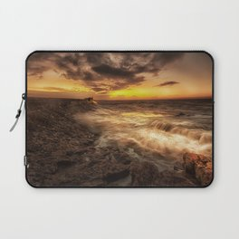 Porthcawl Sunrise with an oil painting effect on the sea Laptop Sleeve