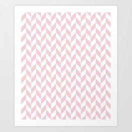Pink and White Herringbone Pattern Art Print