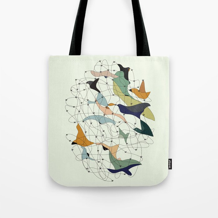Chained birds Tote Bag
