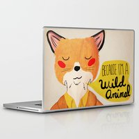nan lawson Laptop & iPad Skins featuring Because I'm a Wild Animal by Nan Lawson