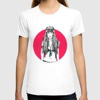 moto T-shirts featuring Moto Girl I by Mónica Carrero