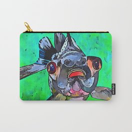 Cartoon Style Blackmoor Goldfish With Gaping Mouth Carry-All Pouch