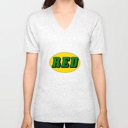 Red  Unisex V-Neck
